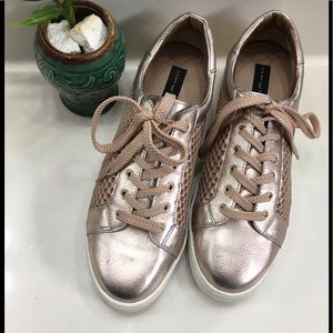 NEON Metallic Old Rose Mesh Lace Up Sneakers